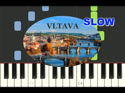"SLOW EASY piano tutorial ""Vltava"" Bedrich Smetana classical music thumbnail"