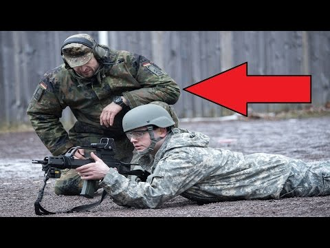German Army Instructor Catches Bullet Casing With His Hand While US Soldiers Fire G36 Assault Rifles
