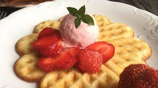 Crispy Waffles & Strawberry Gelato