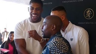 Download FLOYD MAYWEATHER JABS AMIR KHAN AND ANTHONY JOSHUA BUSTS OUT LAUGHING Mp3 and Videos