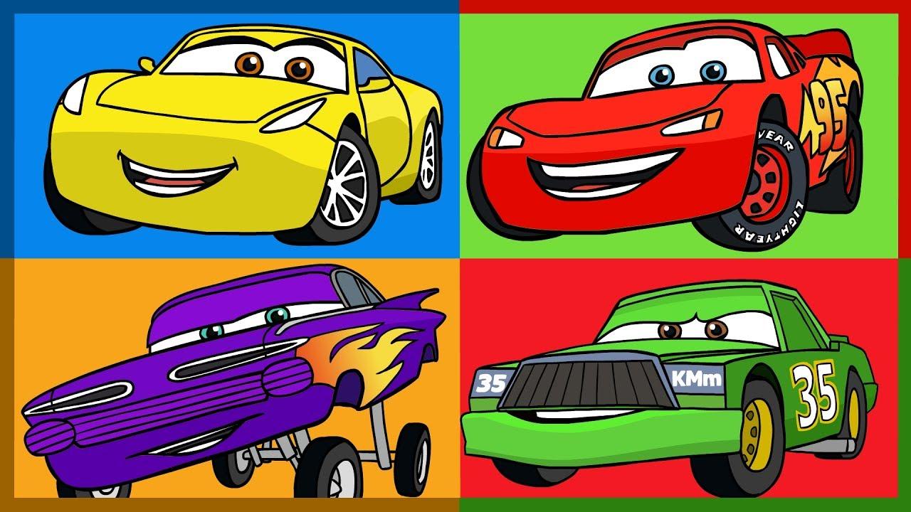 мультик тачки 3 раскраска учим цвета Cars 3 Learn Colors
