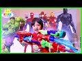 watch he video of Marvel Avengers Infinity War Superhero Toys Hide and Seek with Ryan ToysReview