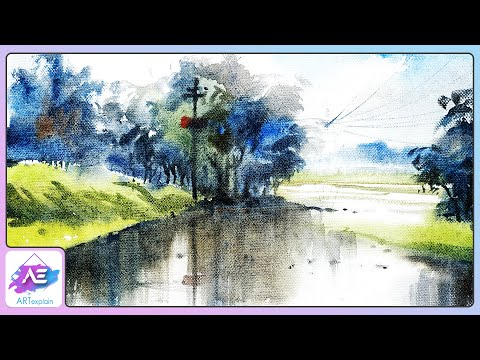 Winter landscape watercolor painting demonstration by Art Explain