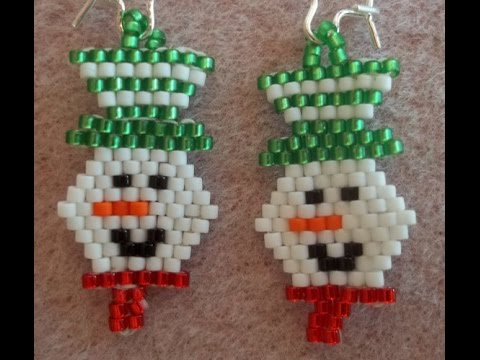 Smiling Snowman Earrings (Brick Stitch)