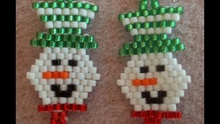 Smiling Snowman Earrings (brick Stitch)