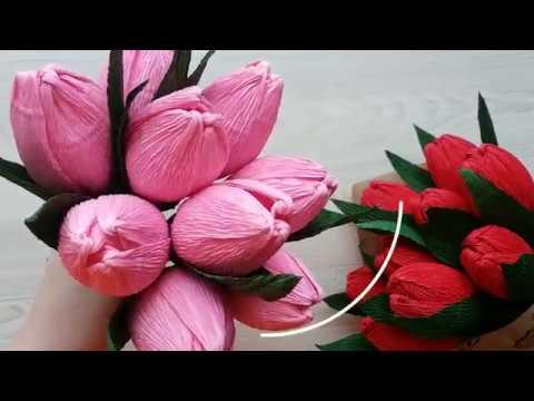 Как сделать тюльпан из гофрированной бумаги