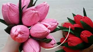 Master class Tulip from corrugated paper with candy inside