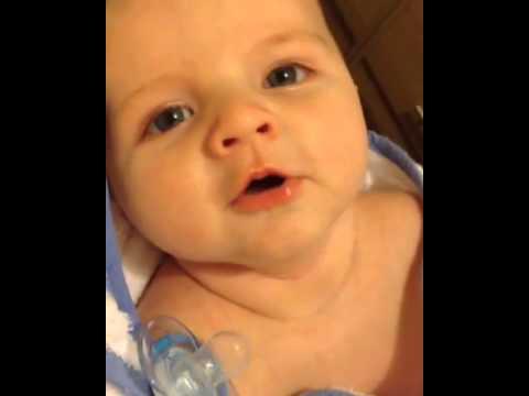 9 Week Old Baby saying hello - YouTube