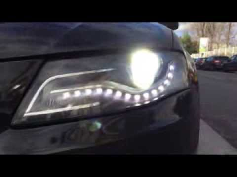 audi a4 b8 led drl 100 avec les feux youtube. Black Bedroom Furniture Sets. Home Design Ideas