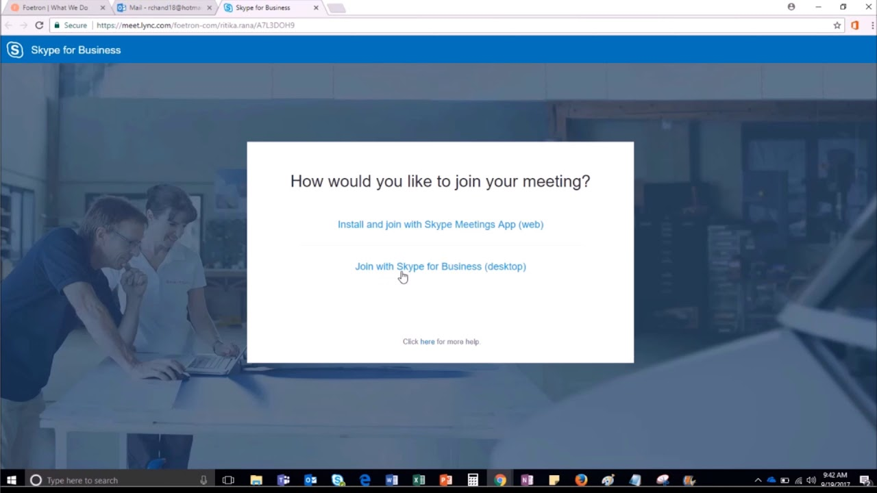 Join Skype for Business meeting with Hotmail Account