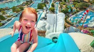 Adley builds the Ultimate Backyard Water Park! New pool toys for baby brother Niko!