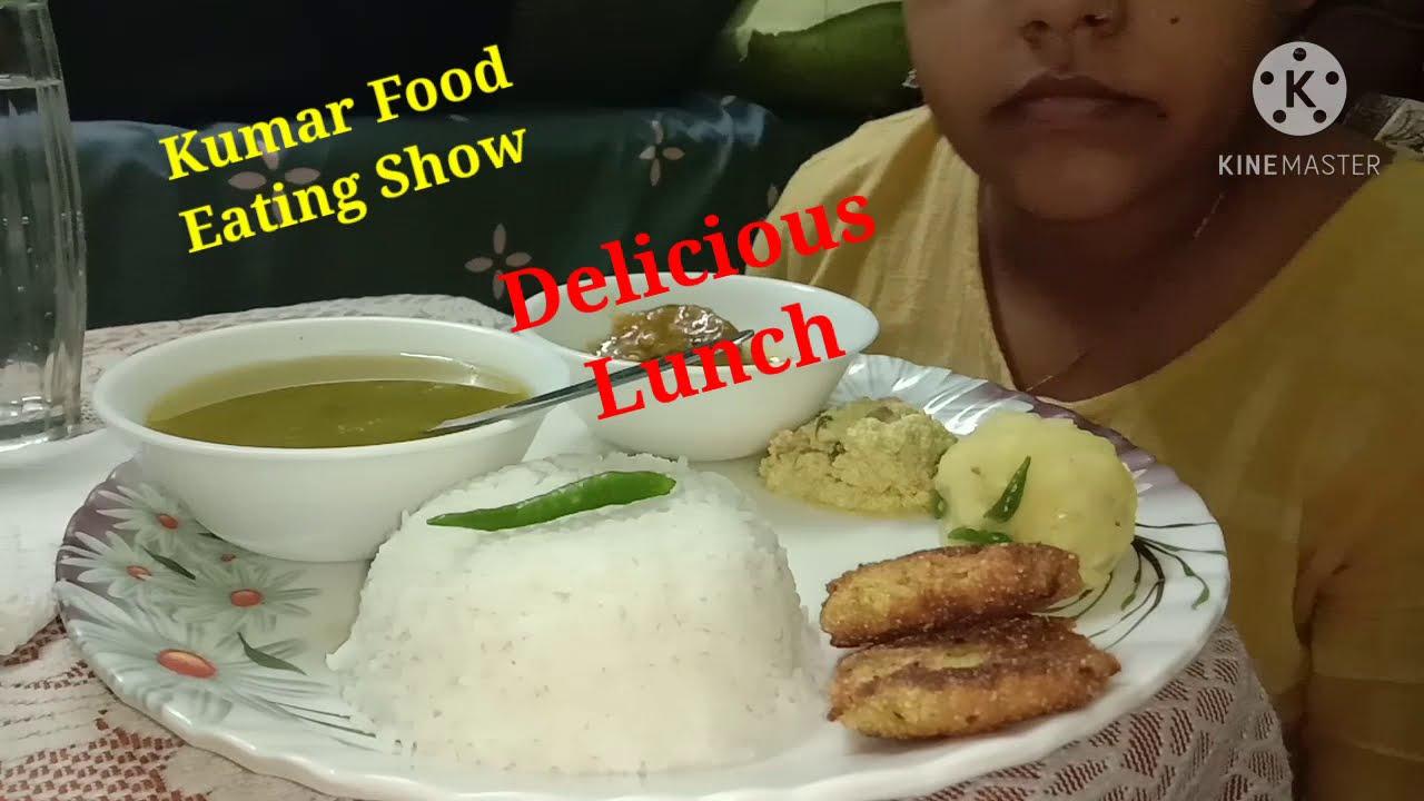 Delicious Lunch ::Rice ,Dal, aloo Bharta  ,Posto bora  ,Chicken curry and Posto Bata