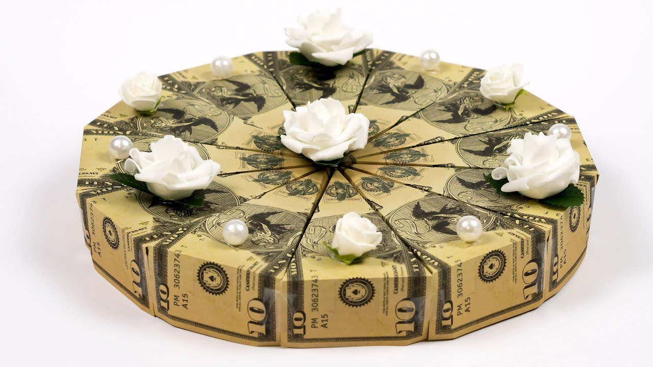 Dollar Bill Origami Cake Folding a BIRTHDAY CAKE out of money YouTube