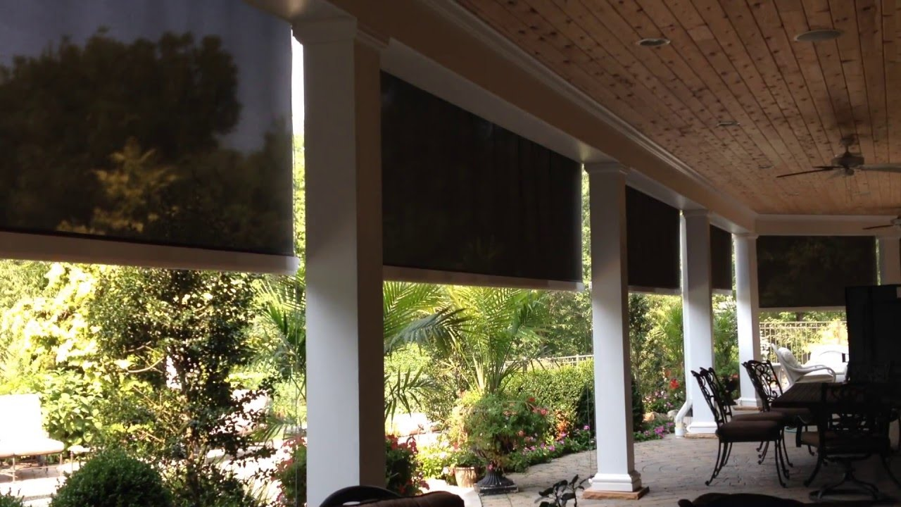 Motorized Retractable Exterior Solar Shades Transform A Hot Patio Into A  Cool Room In Seconds