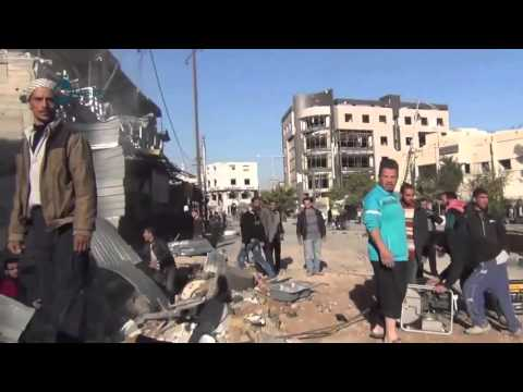 Qasioun News: Rif Dimashq: Destruction due to the airstrikes over Kafr Batna market 4-12-2015