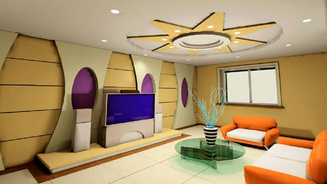New 25 living room tv wall designs simple false ceiling for Latest decoration of living room