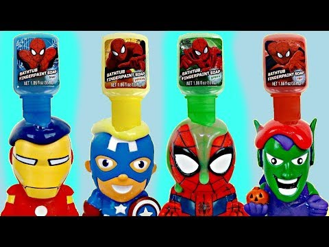 Thumbnail: SUPERHERO Bath Paint Tub Time Toy Squirters, Bubbles, Spiderman Ironman Captain America IRL / TUYC