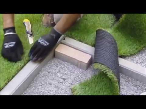 Preparazione e posa erba sintetica youtube for Green arreda
