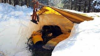Cold Solo Winter Overnight In Deep Snow Under A Tarp!