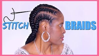 $6 FEED IN STITCH BRAIDS TUTORIAL ON NATURAL HAIR►PROTECTIVE STYLE