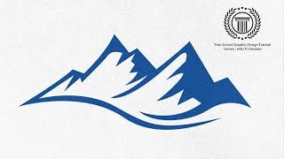 Mountain shape Logo Design Tutorial - How to Create a Simple logo in adobe illustrator cs6