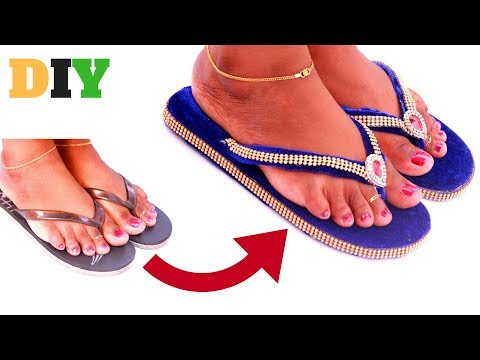 DIY Slippers Decoration | Party Wear | Chappal Wedding Wear | DIYCrafts India #112
