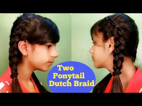 How To Make Dutch Braid Hairstyles In Two Ponytail Pigtails