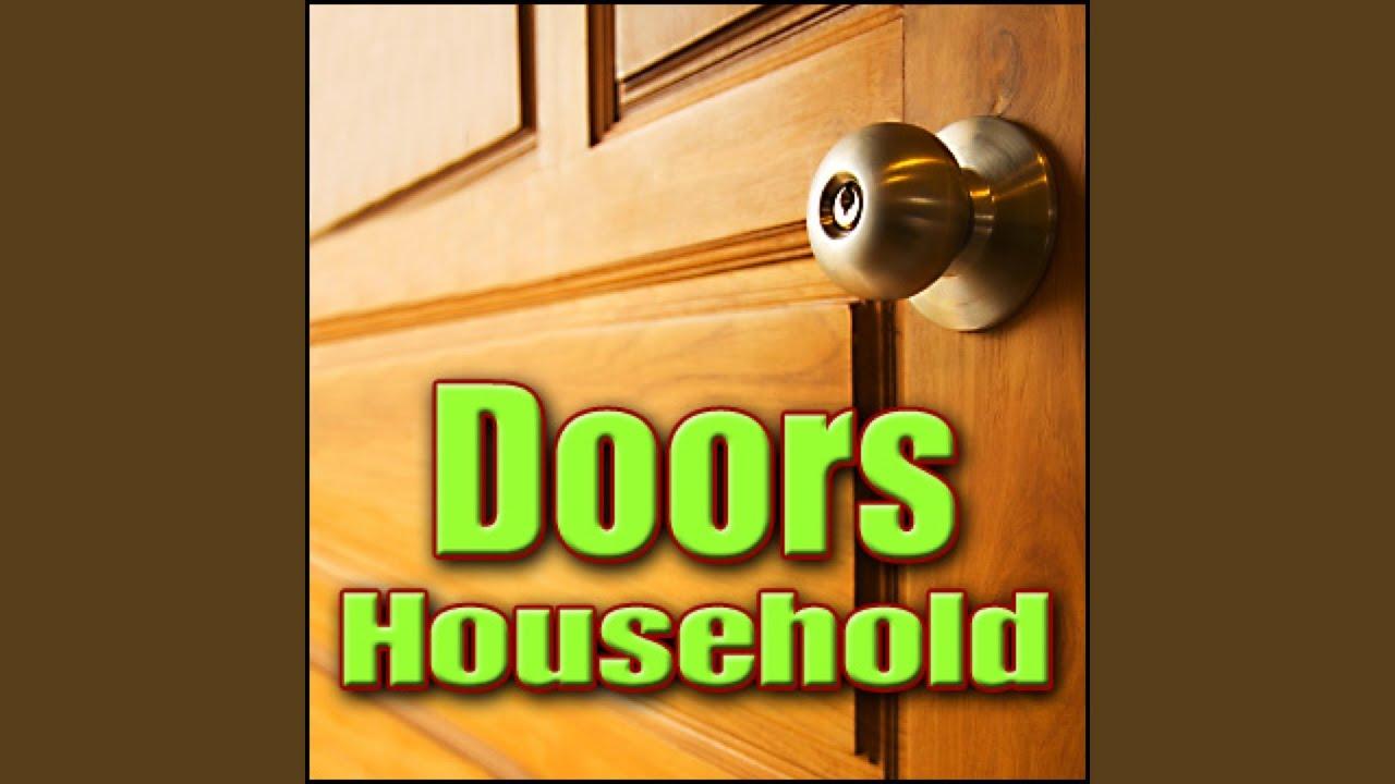 Door Knock Old Wooden Door With Glass Panel Soft Knock Reverberant Door Crashes Kicks