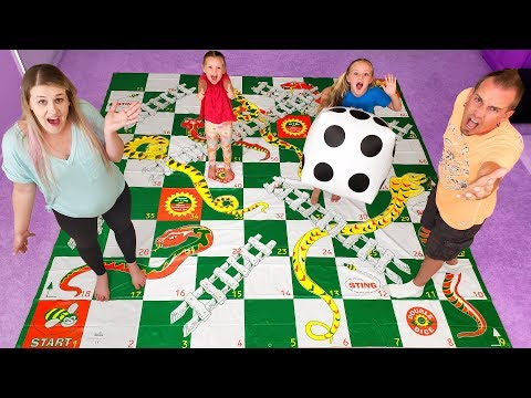 Giant Board Game Challenge Playing Giant Snakes And Ladders!!