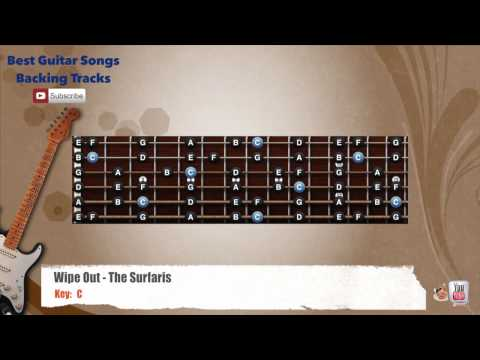 Wipe Out - The Surfaris Guitar Backing Track with scale