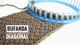 Cómo tejer una bufanda infinita con patrón diagonal en telar (Tutorial DIY)