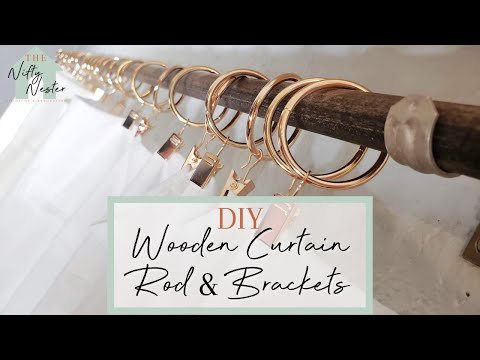 DIY Wooden Curtain Rod | DIY Curtain Rod Brackets | Long Curtain Rod | How To Install And Hang