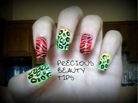 Neon Zebra And Leopard Nails Design Giveaway Winner Youtube