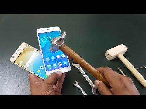 Samsung J5 Prime vs Oppo F1s Screen Scratch Test   Hammer Test  Gorilla Glass