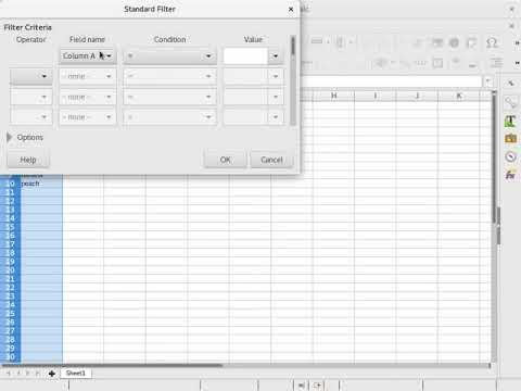 LibreOffice Calc: get the distinct/unique values in a column