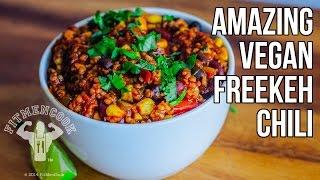 Amazing Vegan Freekeh Chili (stuffed Bell Peppers) / Chili Vegano Con Freekeh