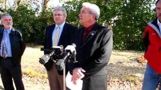 Mayor Tom Henry talks about the Westbrook rain garden/flood control project