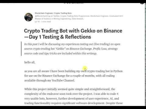 Crypto Trading Bot with Gekko on Binance — Day 1 Testing & Reflections