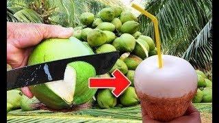 Repeat youtube video Kokosnuss öffnen leicht. How to peel coconut step of true professionals. วิธีการปอกเปลือกมะพร้าวอ่อน