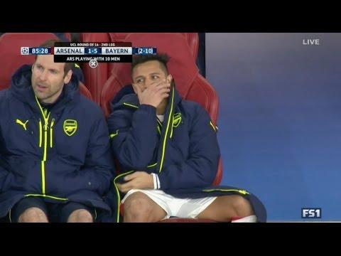 Alexis Sanchez laughing at Arsenal - Bayern Munich vs Arsenal 5-1 (10-2) - UCL 2016/17   HD