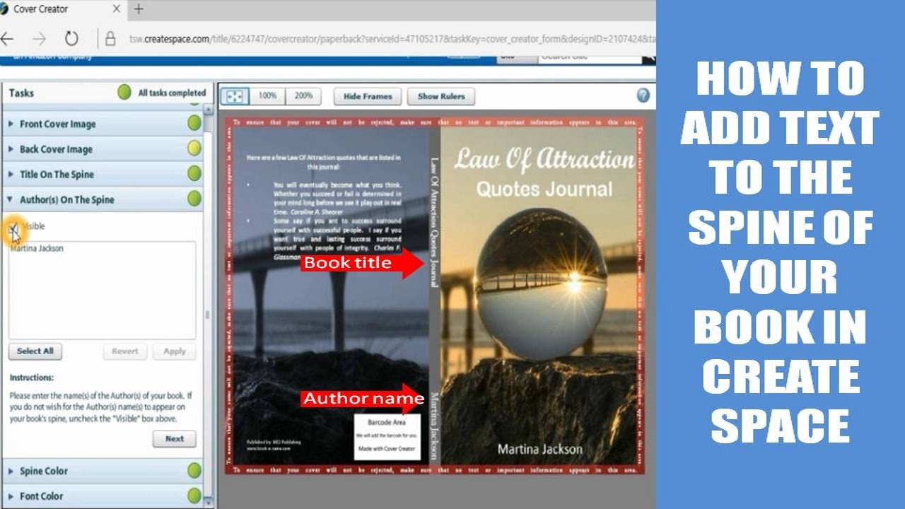 How To Add Text To The Spine Of Your Book In Createspace