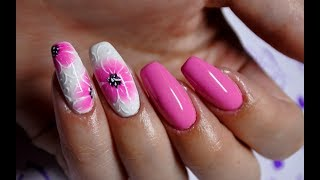 Flower Nail Art Aqua Gel Indigo