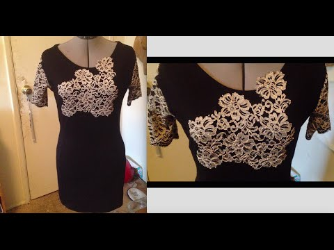 SEWING A SHEATH DRESS WITH LACE SLEEVES AND HANDSEWN LACE APPLIQUE