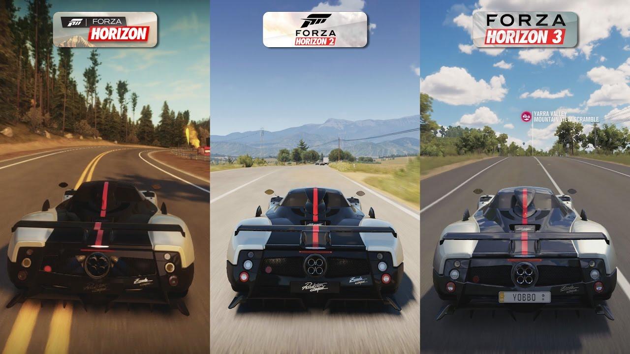 Forza Horizon 1 Vs 2 Vs 3 Pagani Zonda Cinque Roadster