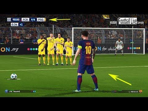 PES 2018 | L.MESSI free kick goal like C.RONALDO | Barcelona vs PSG | UEFA Champions League
