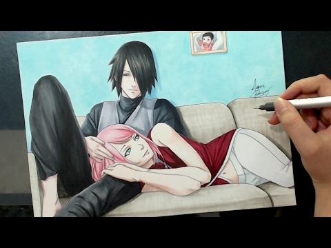Speed Drawing - Sasuke and Sakura (Naruto) Valentines Week