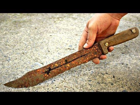 Antique Rusty Handmade Hunting Knife RESTORATION