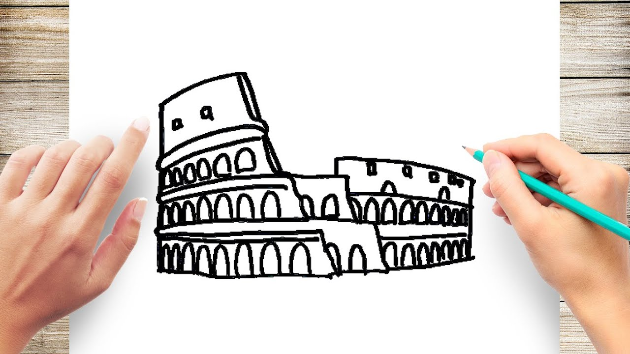 How To Draw Colosseum Step By Step Youtube