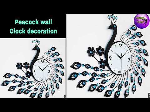 Wall clock decoration/fashion pixies/diy clock wall art/Clock decoration ideas/peacock clock/ clock