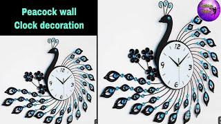 Wall clock decoration/fashion pixies/diy clock wall art/Clock decoration ideas/peacock clock/ clock